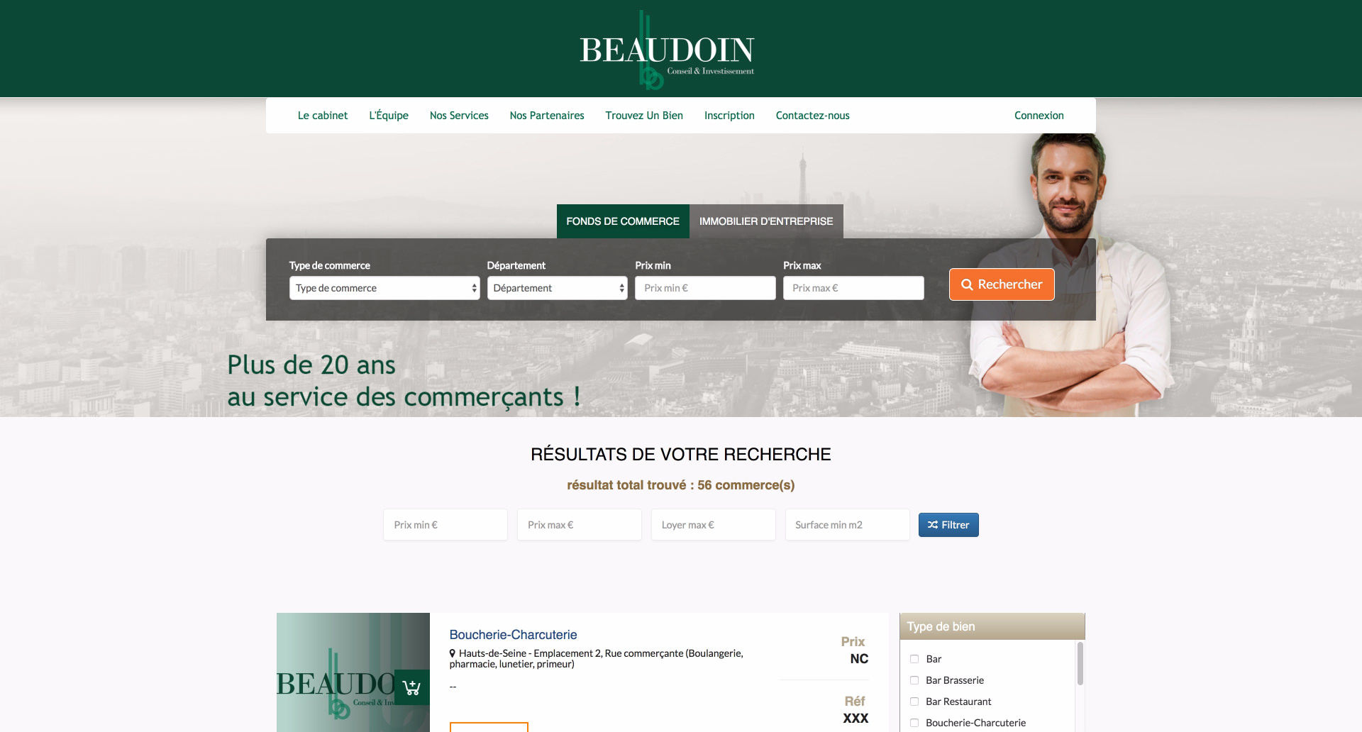 site internet Beaudoin Immobilier - Cabinet d'affaires transaction en fonds de commerce et Immobilier d'entreprise