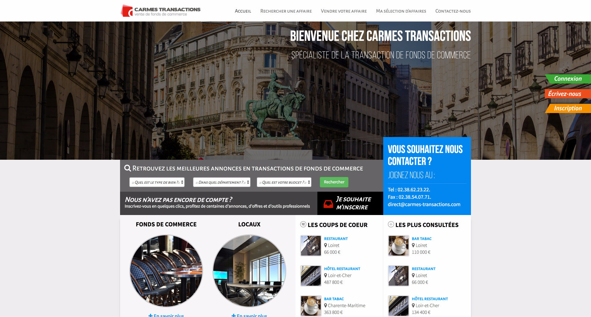 site internet Carmes Transactions - Cabinet d'affaires transaction en fonds de commerce et Immobilier d'entreprise
