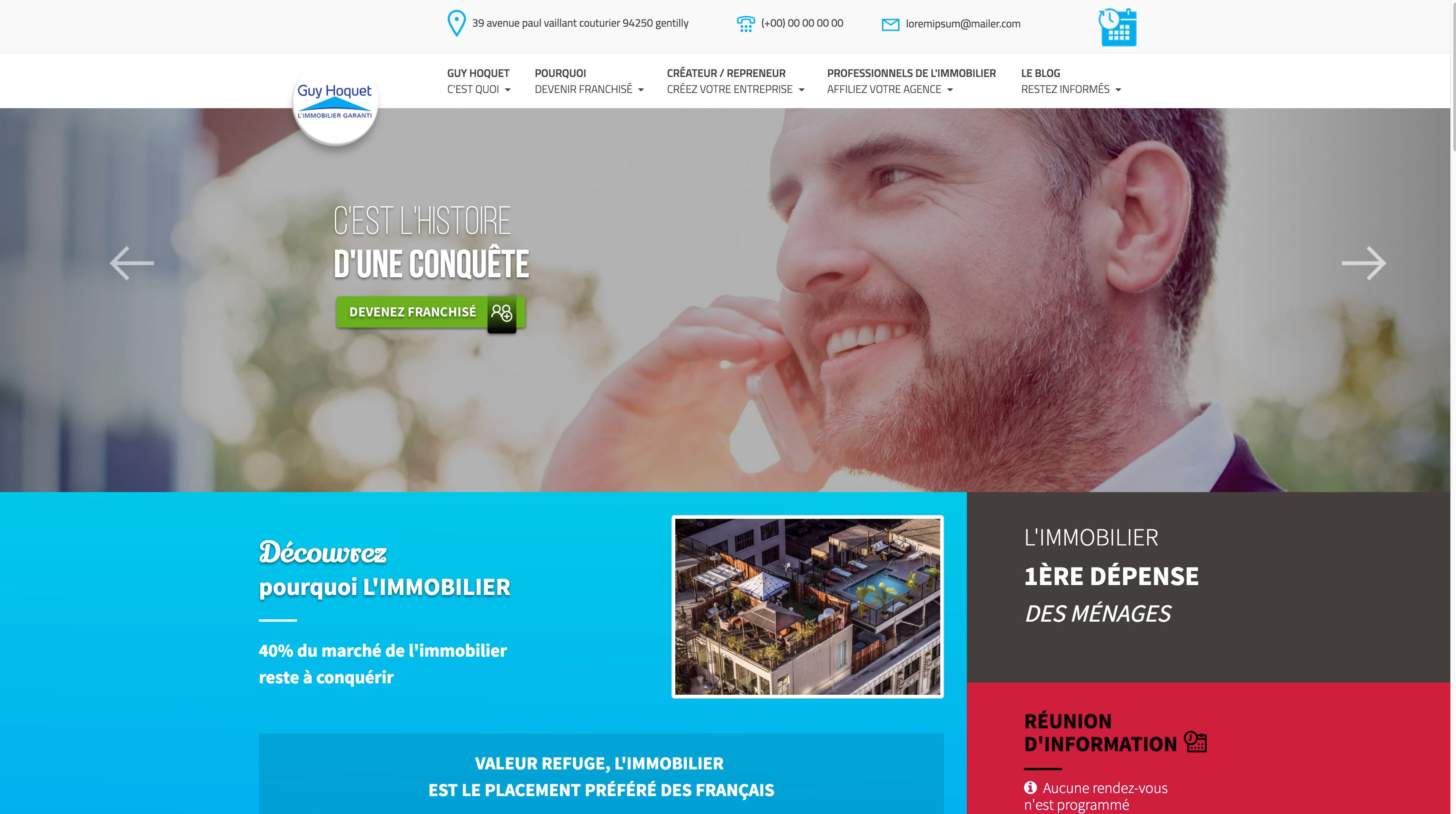 site internet Guy Hoquet Entreprendre 2017 - Cabinet d'affaires transaction en fonds de commerce et Immobilier d'entreprise