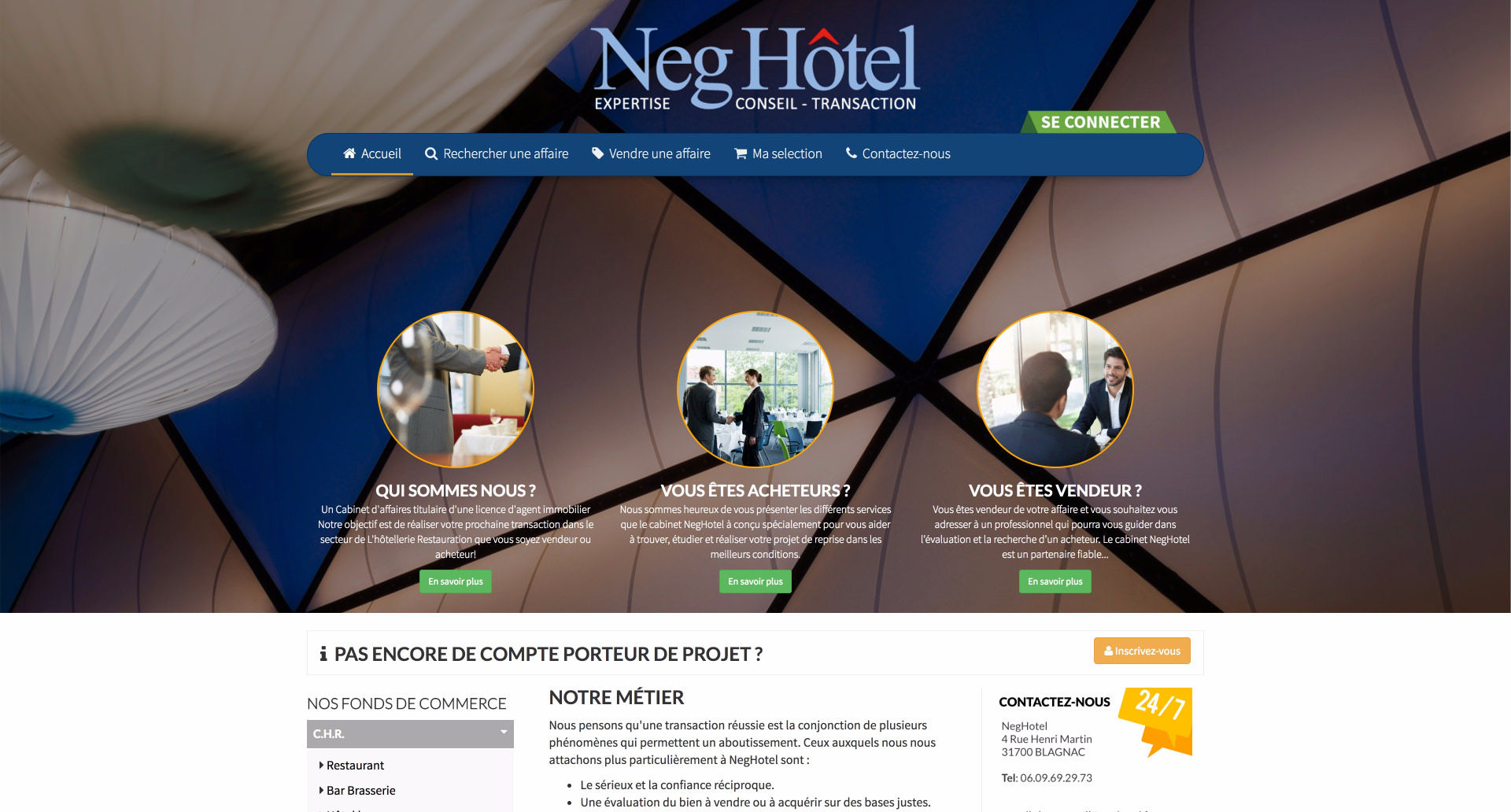 site internet Neghotel - Cabinet d'affaires transaction en fonds de commerce et Immobilier d'entreprise