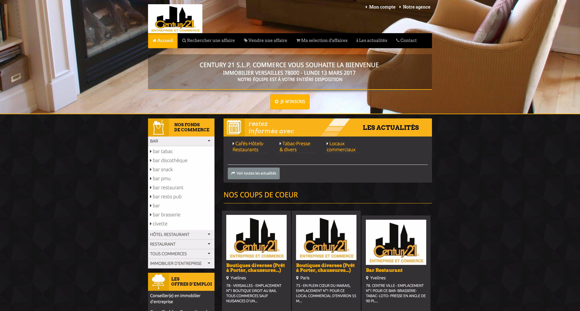 site internet SLP Century - Cabinet d'affaires transaction en fonds de commerce et Immobilier d'entreprise